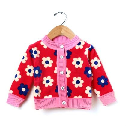 Bubble Red Base Colour With Flower Print Sweater - BUBBLES