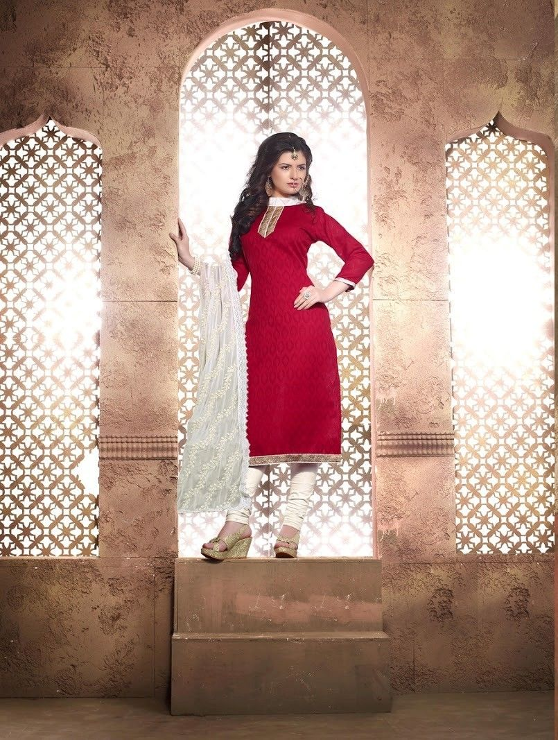 Red And White Cotton Dress Material - Fashion Fiesta