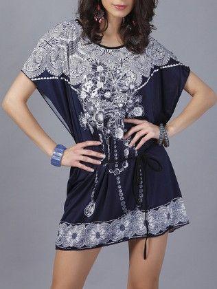 Blue Flower Print Dolman Dress - She In
