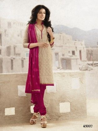 Touch Trends Beige Chanderi  Dress Material-1 - Touch Trends Ethnic