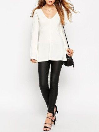 White V Neck Bell Sleeve T-shirt - She In