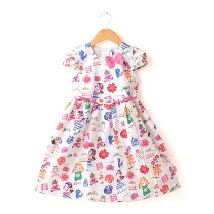 All Over Printed Dress With Fancy Belt - Pink - Chocopie