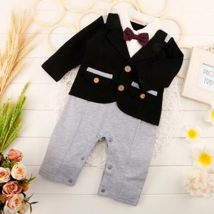 Cute Full Sleeves Blazer Romper With Bow - One Pc - Black - Richy Lad