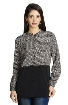 Mohr Women's Printed And Solid Shirt Black