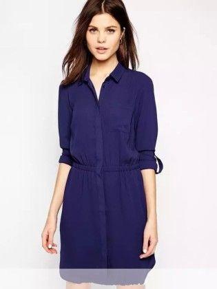 Blue Shirt Dress-solid - Drape In Vogue