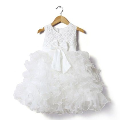 Party Frock With Frills & Pearl - White - Party Princess