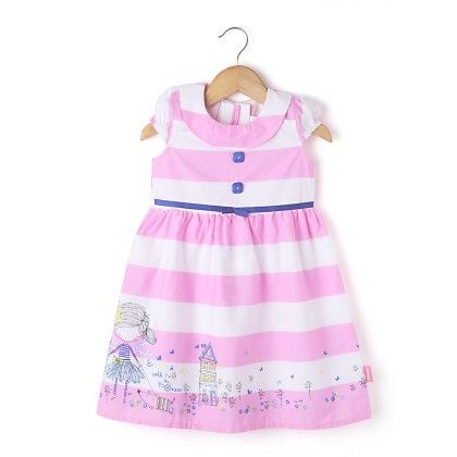 Cap Sleeve Stripe Dress With Collar  - Pink - Chocopie