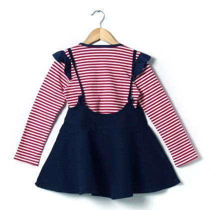 Red Stripe Dress With Denim Skirt - Red - Party Princess