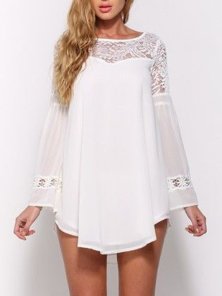 White Bell Sleeve Lace Insert Hollow Chiffon Top - She In