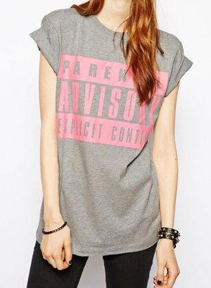 Grey Short Sleeve Advisory Print Loose T-shirt - She In