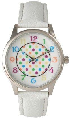 Vernier Paris Womens Leather Strap Polka Dot Watch - Vernier Watches