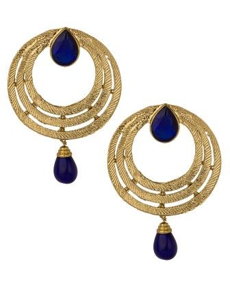 Gold Plated Circular Earring Pair Studded With Blue Stones - Voylla