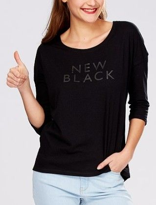 T-shirt With 3-4 Sleeves And Print Black - Kiabi