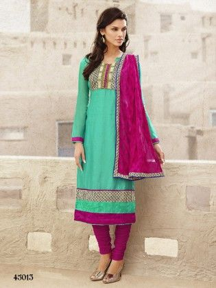 Touch Trends Green Chanderi  Dress Material-2 - Touch Trends Ethnic