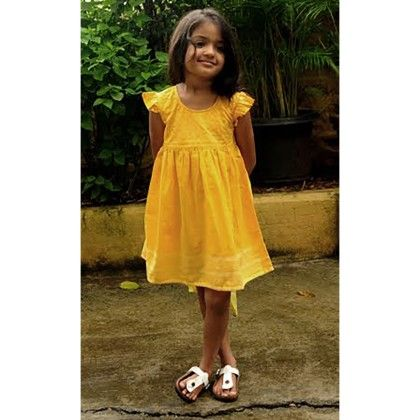 Girls Gamcha Frock Quilted Yoke With Frill Sleeves Yellow - Indigene