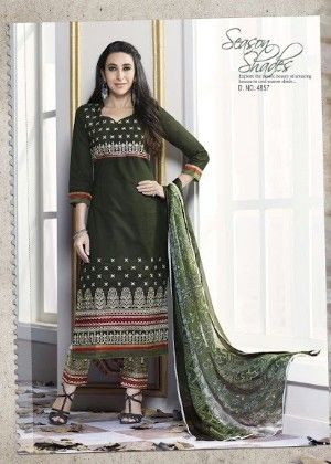 Green Cotton With Embriodery Dress Material - Fashion Fiesta