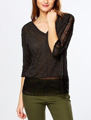 T-shirt With Lace Inset And Low Back Black - Kiabi