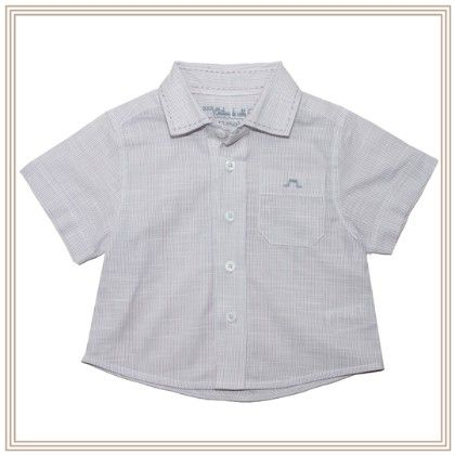 Louis Boy Short Sleeve Shirt Purple-grey Stripe - Chateau De Sable