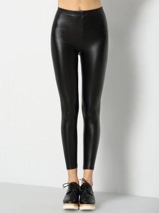 Black Skinny Pu Leggings - She In