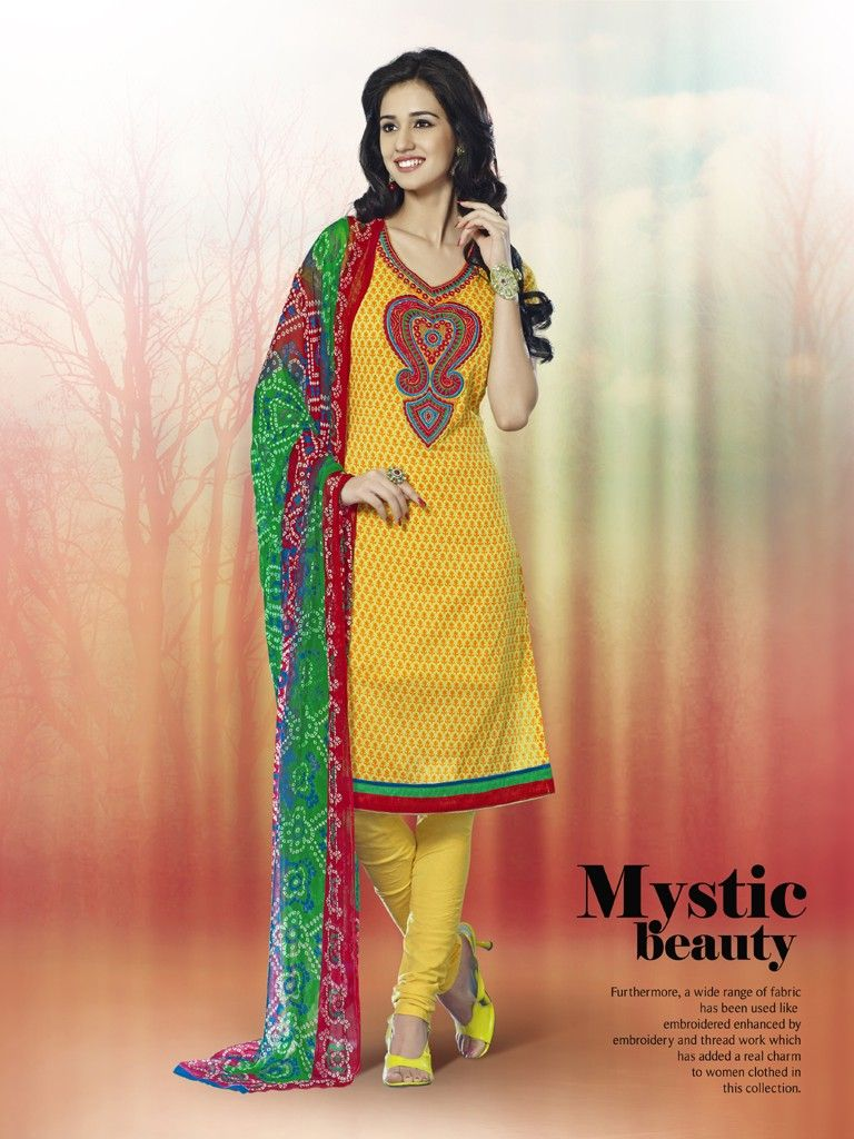 Touch Trends Yellow Printed Cotton Dress Material-3 - Touch Trends Ethnic