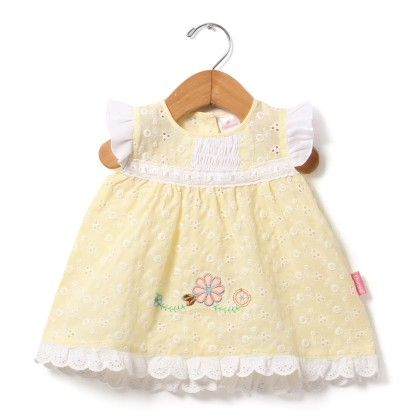 Cap Sleeve Chikan Dress With Embroidery-lemon - Chocopie