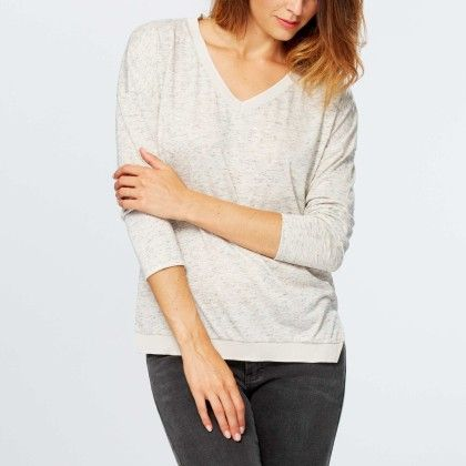 Loose Marl T-shirt With Ribbed Edging Beige - Kiabi