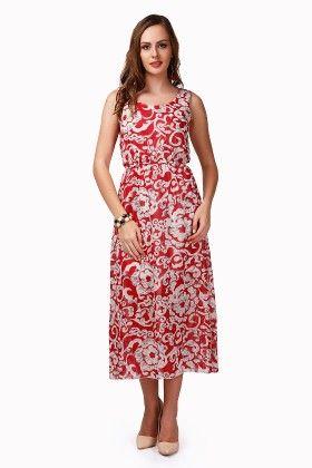 Dressvilla Red Printed Long Dress