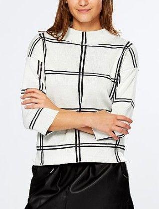 Check Print Sweater With 3-4 Sleeves -white-black - Kiabi