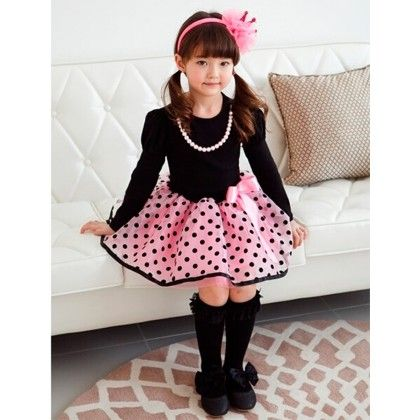Gorgeous Pink Polka Dot Party Wear With A Large Bow And Pearly Necklace - Pinni Kidz