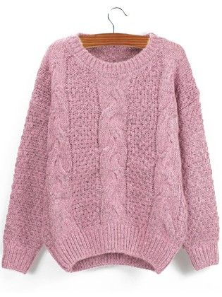 Pink Round Neck Chunky Cable Knit Sweater - She In