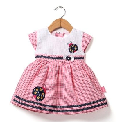 Cap Sleeve Checks Dress With Bee Embroidery-pink - Chocopie