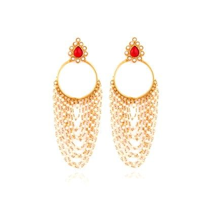 White And Red Chandelier Earrings - Rooh Jewellery