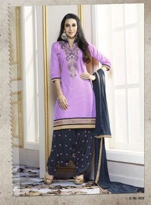 Lavender Cotton With Embriodery Dress Material - Fashion Fiesta