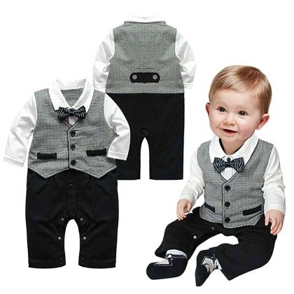 Cute Baby Boy Toddler Bowknot Long Sleeve Boys Romper Jumpsuit - Kidsloft