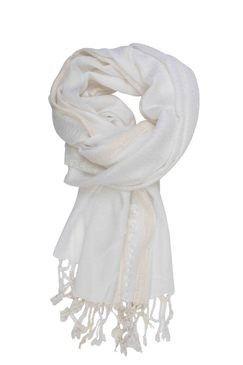 In-sattva Colors Decorative Border Scarf Stole Wrap White - In Sattva