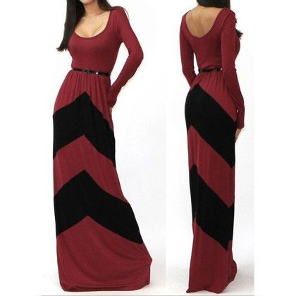Full Dress With Waist Belt Redblack - STUPA FASHION