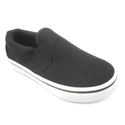 Hanging Canvas Slip-on Sneaker - Black - Jesco Footwear