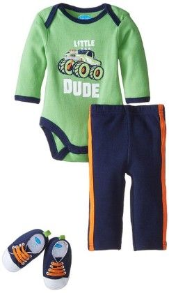 Little Dude Bodysuit, Pants & Sneaker Set - Bon Bebe