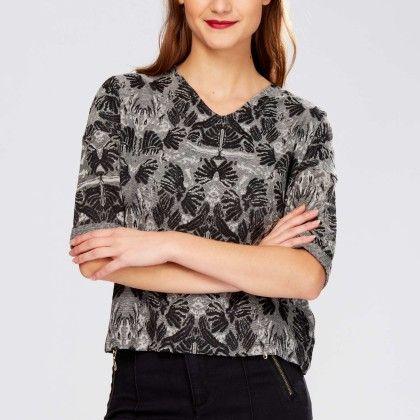 Stretch Jacquard Print T-shirt Grey - Kiabi