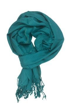 In-sattva Colors Decorative Border Scarf Stole Wrap Green - In Sattva