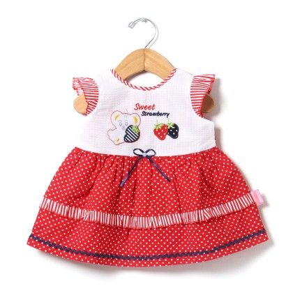 Cap Sleeve Dotted Dress With Applique Embroidery-red - Chocopie