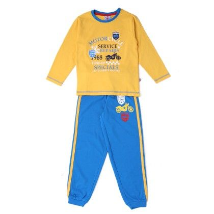 Full Sleeves Yellow T-shirt With Blue Bottom - Punkster