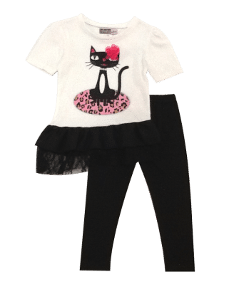 Cute Cat Print Top And Leggings Set- Ivory - Baby Ziggles