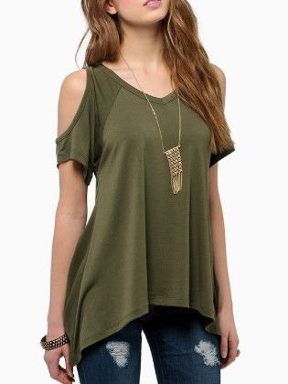 Green Open Shoulder Asymmetrical Hem T-shirt - She In