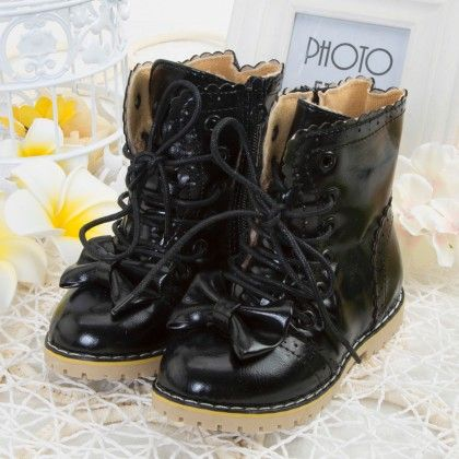 Black Bow Lace Up Boots - Oh Pair
