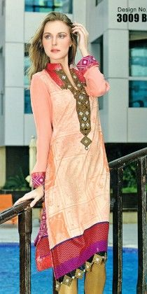 Embroidered Kurti Collection Peach - Mauve Collection