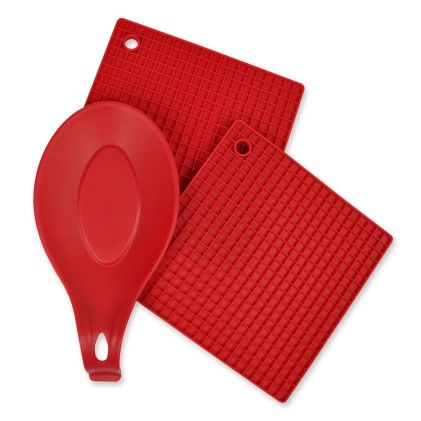 Red 3 Piece Kitchen Accessory Set - Design Imports