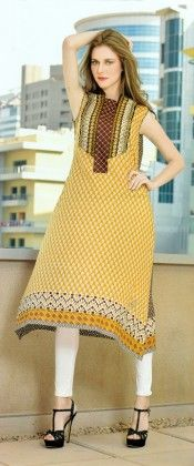 Embroidered Kurti Collection Beige - Mauve Collection