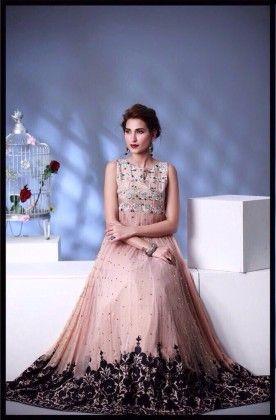 Peach Gown Effect Semi Stitched Dress - Fashion Fiesta