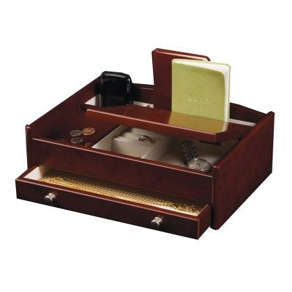 Wooden Dresser Top Valet In Dark Burlwood Walnut Finish - Mele & Co.